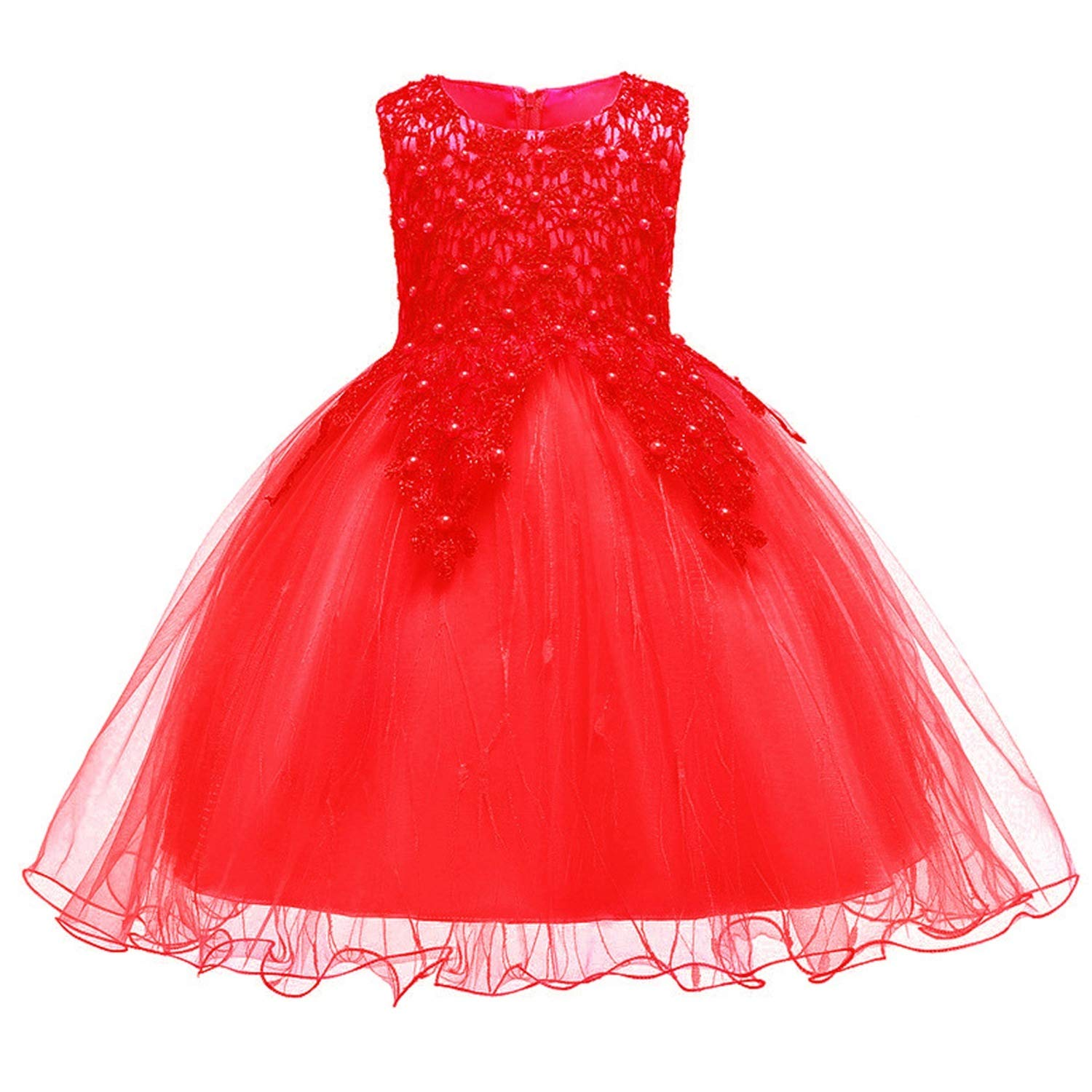 Kids Dresses for Girls Gold Thread Embroidery Elegant Party Dress for Girls Wedding Dress for Toddler Girls Thankgiving Clothes,Red,3T