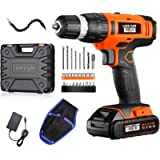 Cordless Drill - 20V Power Drill Set with 2.0Ah Lithium-Ion Battery, 1 Hr Fast Charger, 27pcs Accessories Compact Case…
