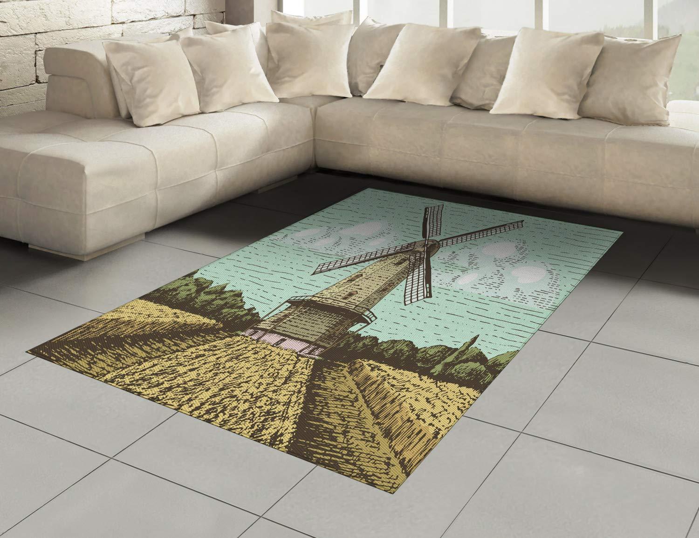 Mehrfarbig 80 x 150 cm Deko-Teppich Digitaldruck ABAKUHAUS Niederländisch Teppich Färben mit langfristigen Halt Windmühle und Ackerland