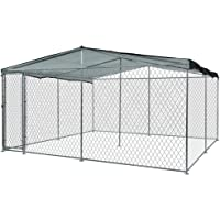NEATAPET 4x4m Outdoor Chain Wire Enclosure Kennel with Black Shade Cover for Dog & Puppy, Black