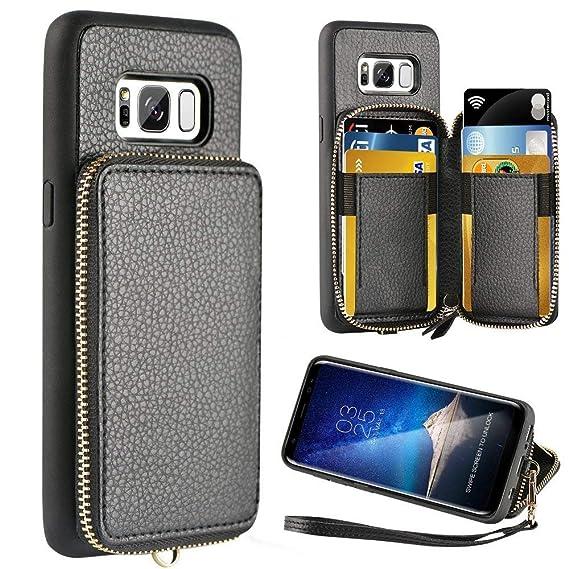 sports shoes 740b8 f4bd3 ZVE Wallet Case for Samsung Galaxy S8, 5.8 inch, Leather Wallet Case Credit  Card Holder Slot Zipper Wallet Pocket Purse Handbag Wrist Strap Protective  ...