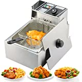 Yaufey 2500W 6 Liter Countertop Restaurant Healthy Stainless Steel Electric Deep Fryer Tank With Basket Commercial