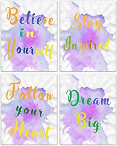 HZSYF Inspirational Quotes Wall Art Canvas - Positive Wall Posters Coloful Abstract Paint Wall Decor for College Dorm Girls Bedroom Workout Posters Motivational Office Decor 8x10inches Unframe