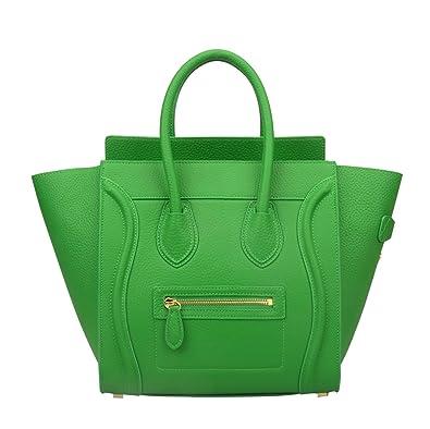 Ainifeel Women s Genuine Leather Smile Top Handle Handbag Purse (Medium 13317826c9bc6