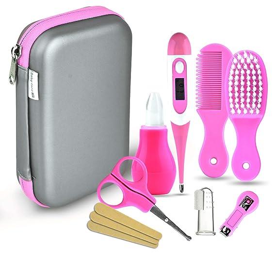 Set para el cuidado del bebé - 8 piezas/juego de recién nacido bebé niños Cuidado Set, uñas pelo salud Cuidado Termómetro Pincel Kit (rosa)