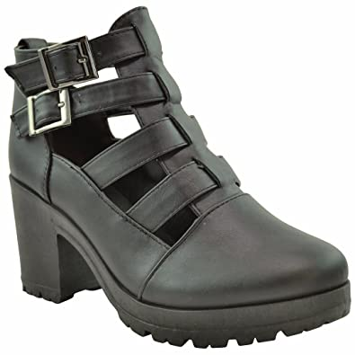 f7cf466683f29 KSC Womens Ankle Boots Cutout Strappy Buckles Chunky Heel Booties Shoes  Black SZ 8