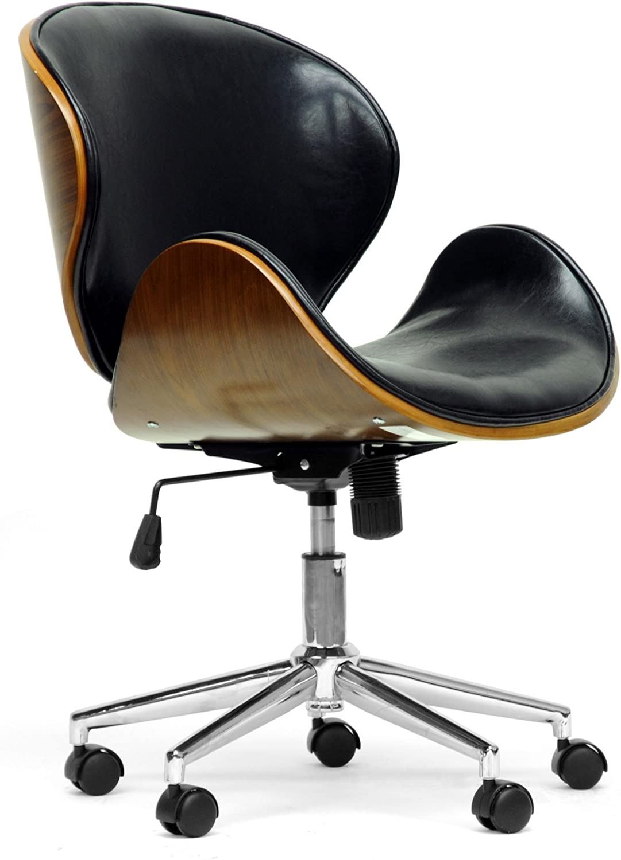 Baxton Studio Bruce Modern Office Chair, Walnut Black