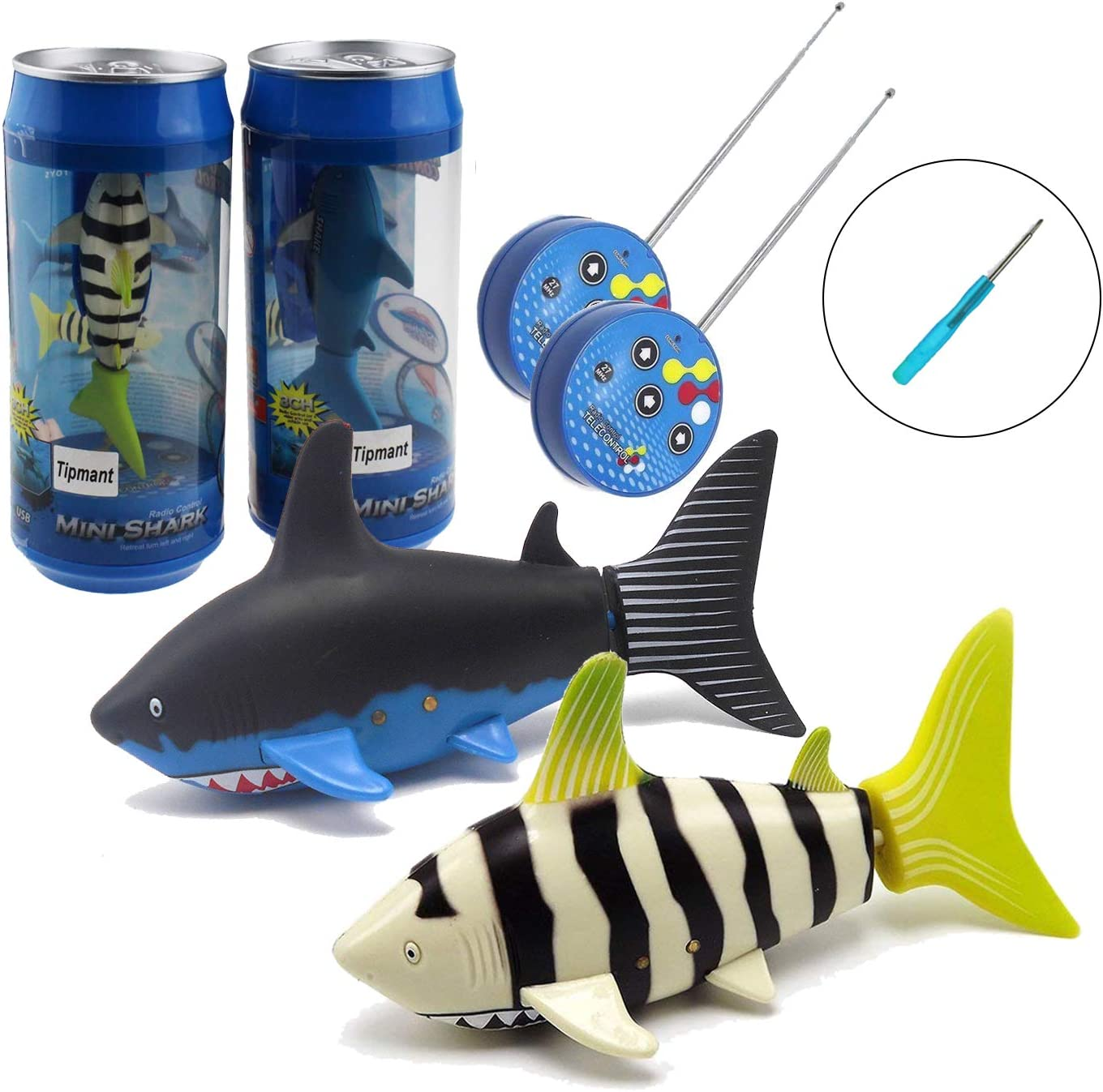 Tipmant Mini RC Fish Shark Toys Radio Remote Control Boat Ship Electronic Pet Animal Swim Water Pool Tub Bathtub Kids Gifts - 2 Pack (Black & Yellow)