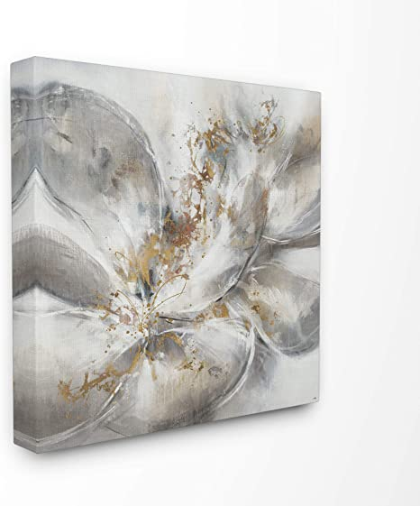 Amazon Com Stupell Industries Abstract Flower Bloom Grey Gold Painting Canvas Art 24 X 24 Design By Artist Third And Wall Home Kitchen