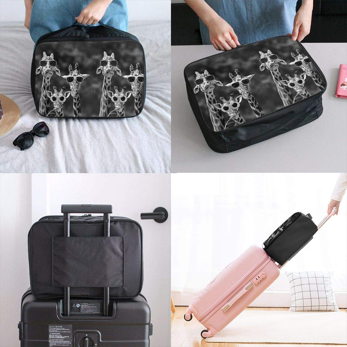Vintage Giraffes Whith Sunglasses Travel Lightweight Waterproof Foldable Storage Carry Luggage Duffle Tote Bag Large Capacity In Trolley Handle Bags 6x11x15 Inch