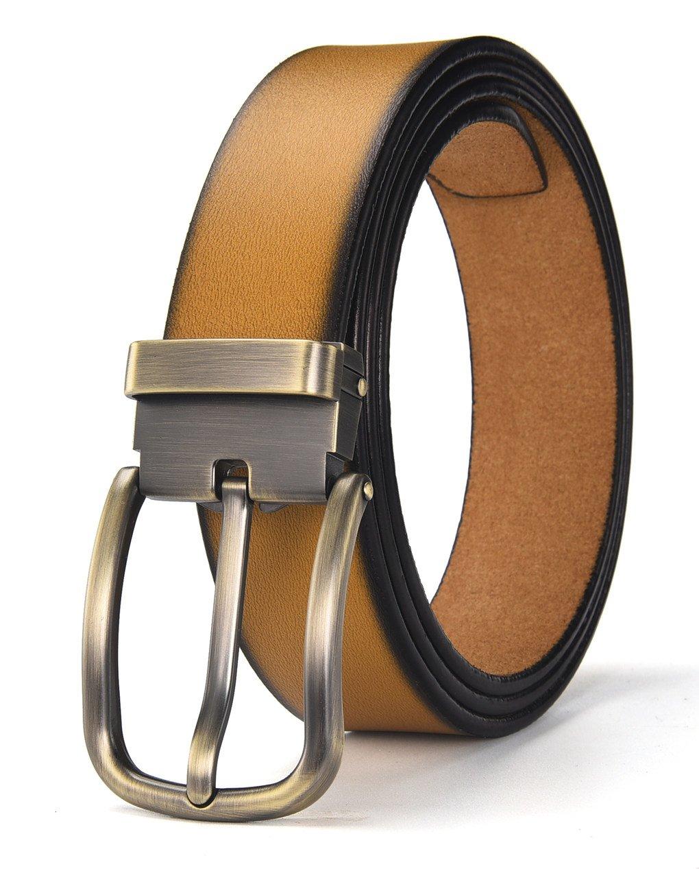 Autolock Cowhide Leather Belt for Men Classic Pin Buckle Belt