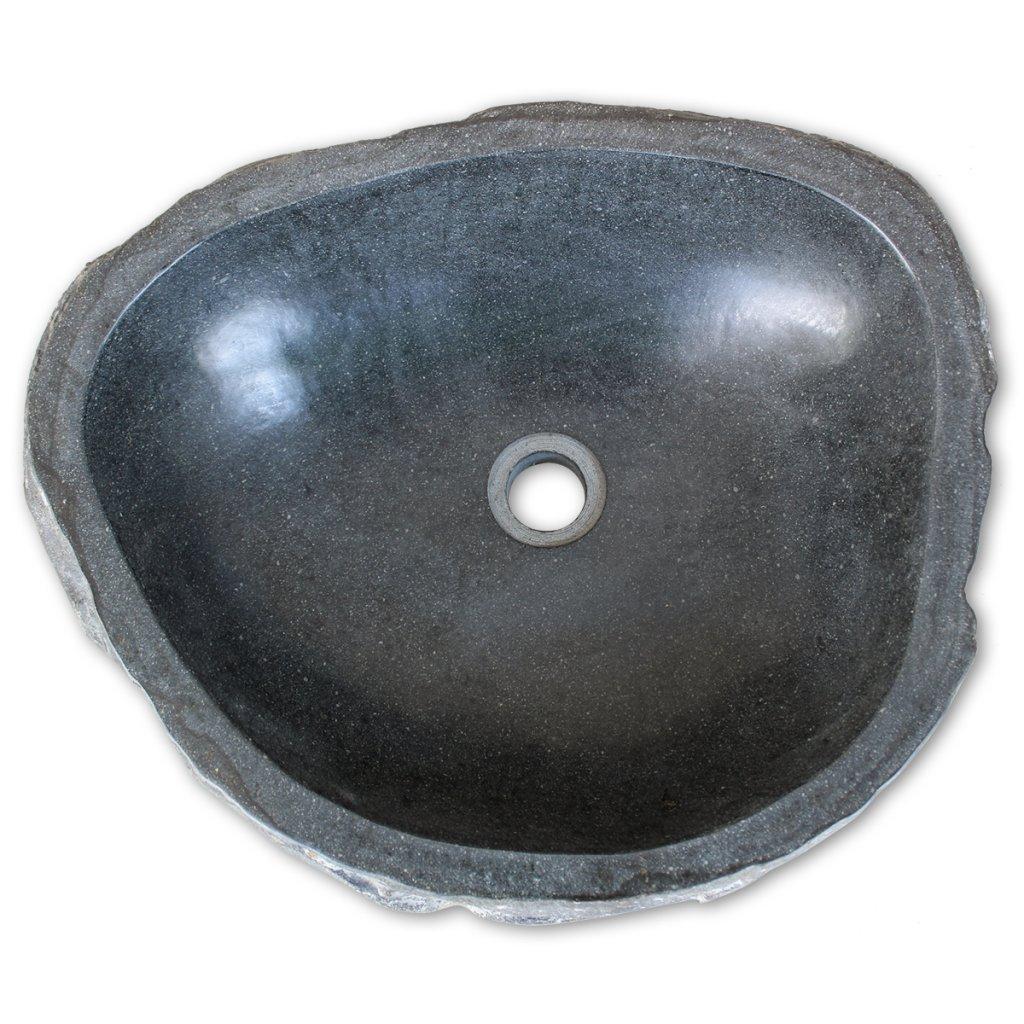 vidaXL Waschbecken Flussstein Oval 30-35cm Aufsatzwaschbecken Waschschale