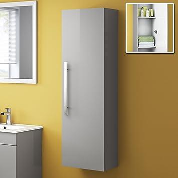 Tall Modern Bathroom Cabinet Storage Furniture Unit Wall Hung