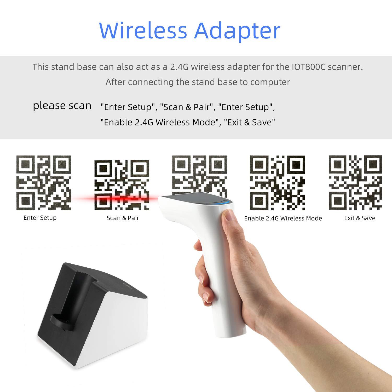 St/änder Barcodescanner QR PDF417 Data Matrix UPC Halterung Bluetooth Wireless 2.4GHZ Scanner QR Code 1D//2D Koolertron IOT800C-2D Barcode Scanner St/änder