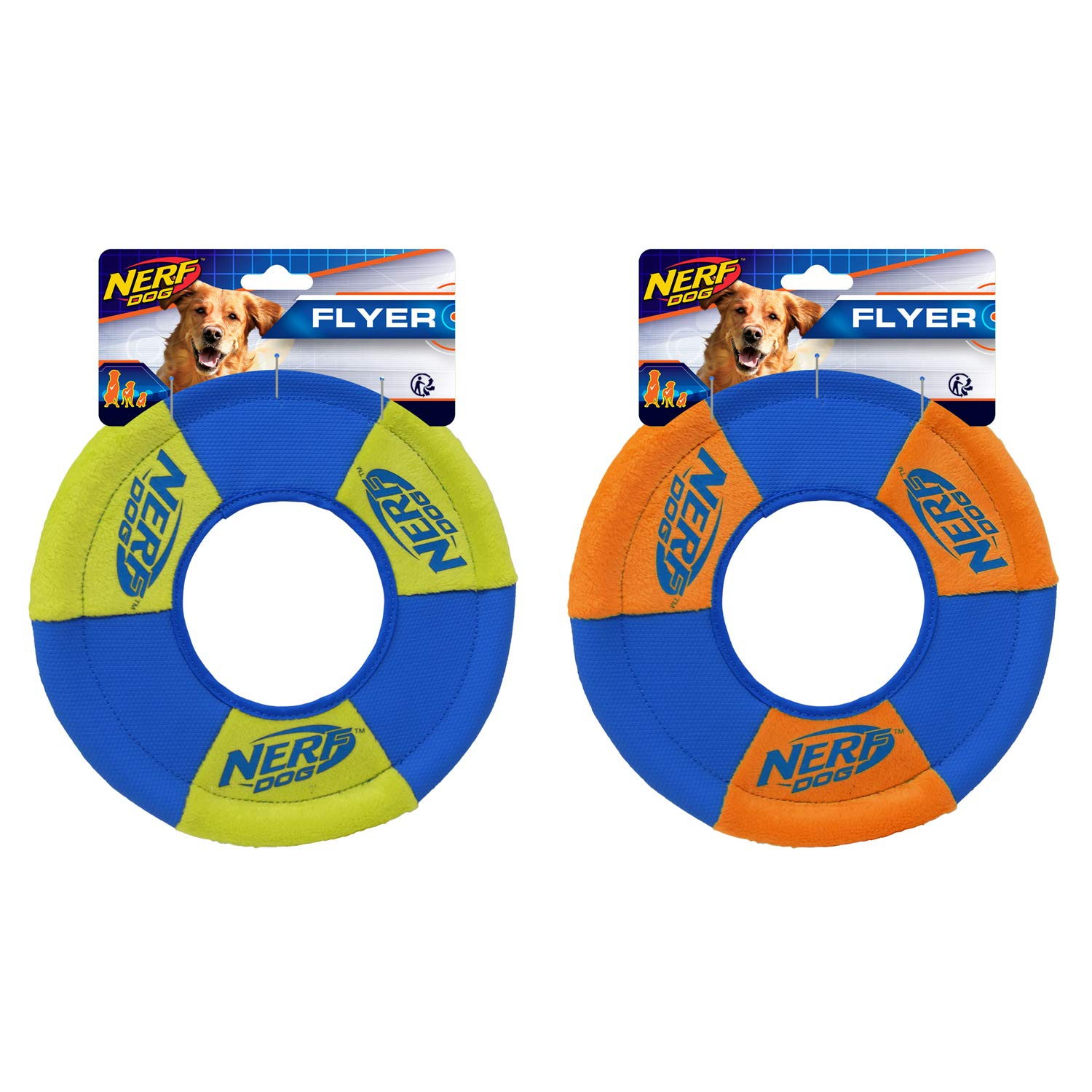 Nerf Dog (2-Pack) UltraPlush Trackshot Toss and Tug Ring Dog Toy, Orange/Blue & Green/Blue, Medium by Nerf Dog
