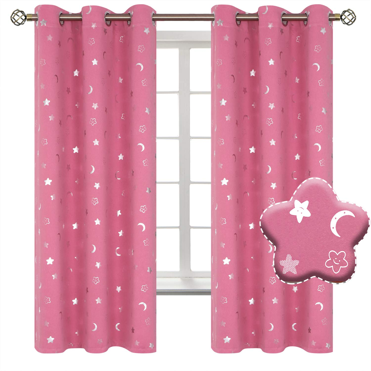 BGment Moon and Stars Blackout Curtains for Girls Bedroom, Grommet Thermal Insulated Room Darkening Printed Kids Curtains, 2 Panels of 42 x 63 Inch, Pink by BGment