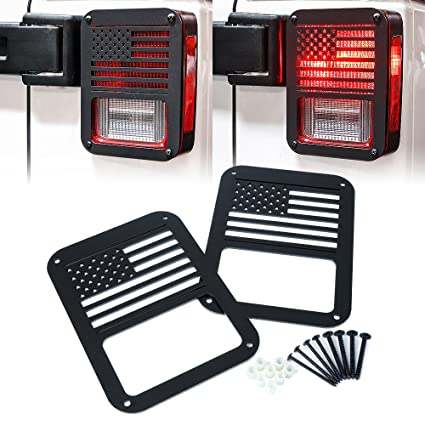 Xprite U201cAmerican US Flagu201d Tail Light Covers Guards Protectors For 2007 2018  Jeep