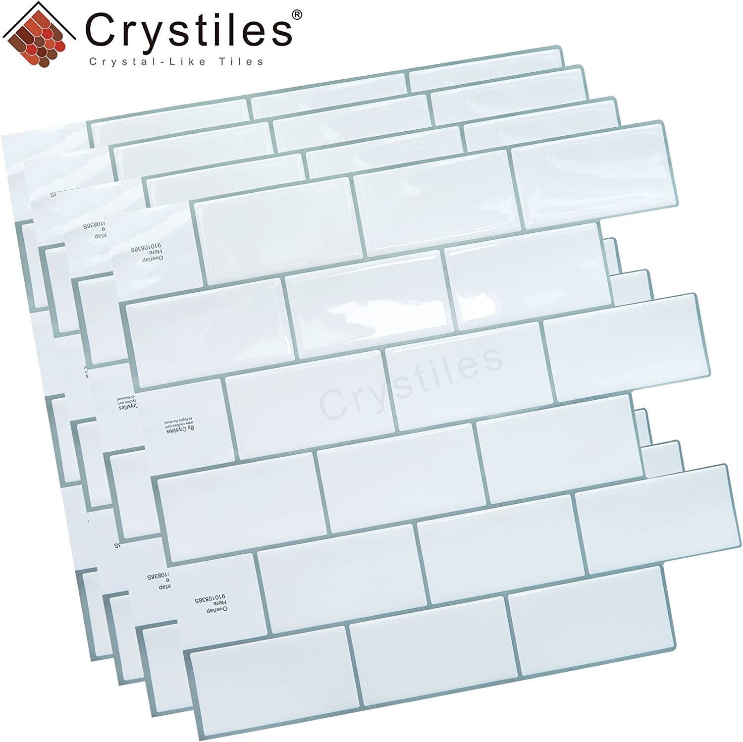 "10/"" X 10/"" Each 6 Sheets Pack 91010835A Crystiles Peel and Stick Self-Adhesive DIY Backsplash Stick-on Vinyl Wall Tiles for Kitchen and Bathroom D/écor Projects Item# 91010838 Subway White"
