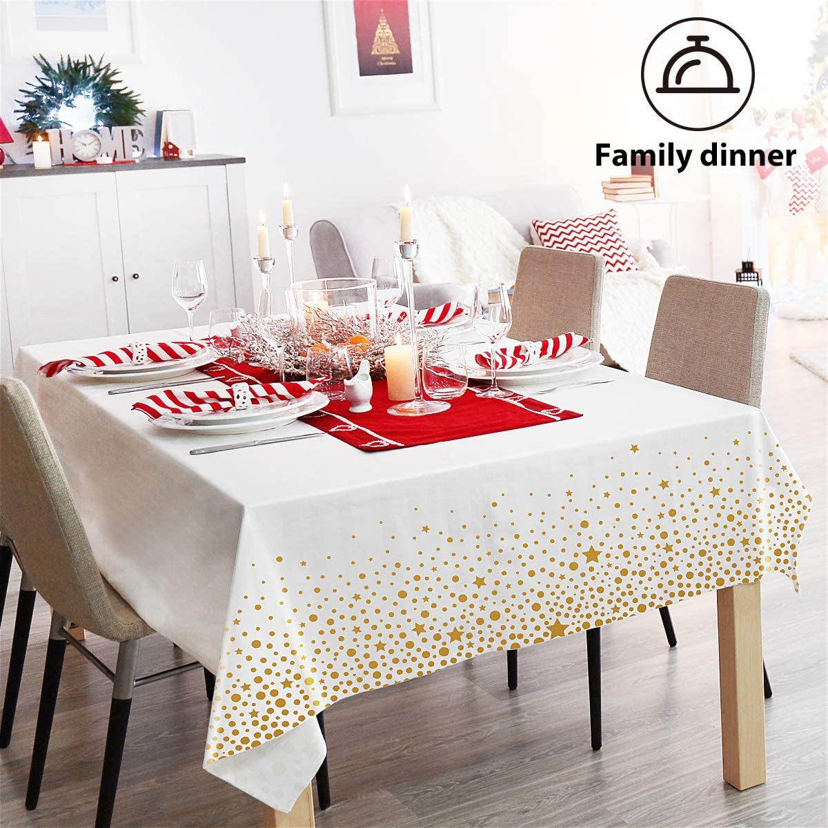 Plastic Tablecloths Gold Tablecloth for Rectangle Tables, 4 Pack Party Table Cloths Disposable for Parties, Outdoors, Anniversary