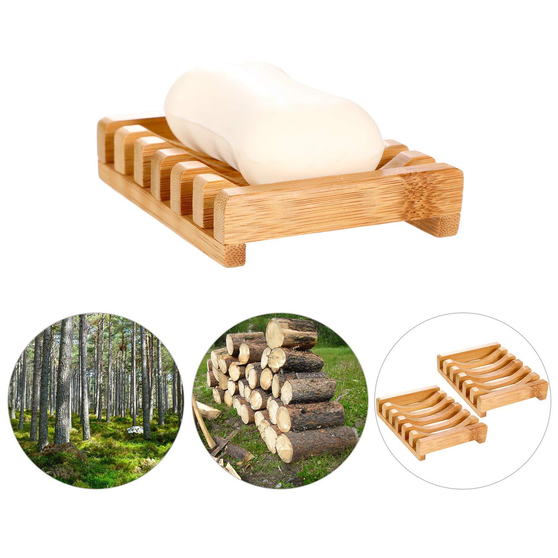 4 Piezas de Jabonera de Madera Soporte Caja de Jab/ón de Madera Rectangular Natural para Cocina Ba/ño Esponja Jabon Depurador