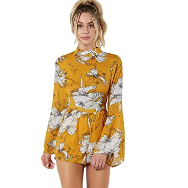 89faf0bca26 Amazon.com  YHBAO Women Cute Rompers Halter Neck Floral Print Long Sleeves  Backless Beach Boho Summer Jumpsuits  Clothing