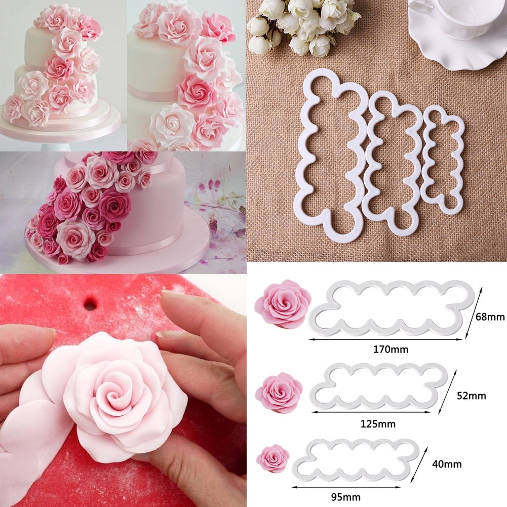 3pcs 3D Rose Petal Cake Cutter Cake Mold Silicone DIY Sugarcraft Cutters Icing Cake Decorations Cake Moulds Littleducking