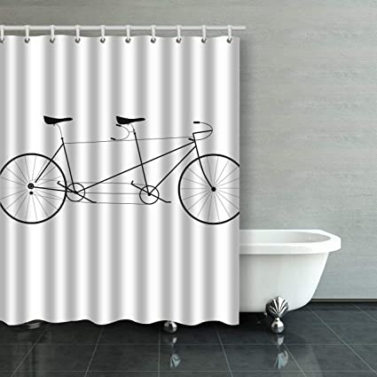IrYuee Custom Vector Illustration Tandem Bike Shower Curtain Bathroom 60x72 Inches