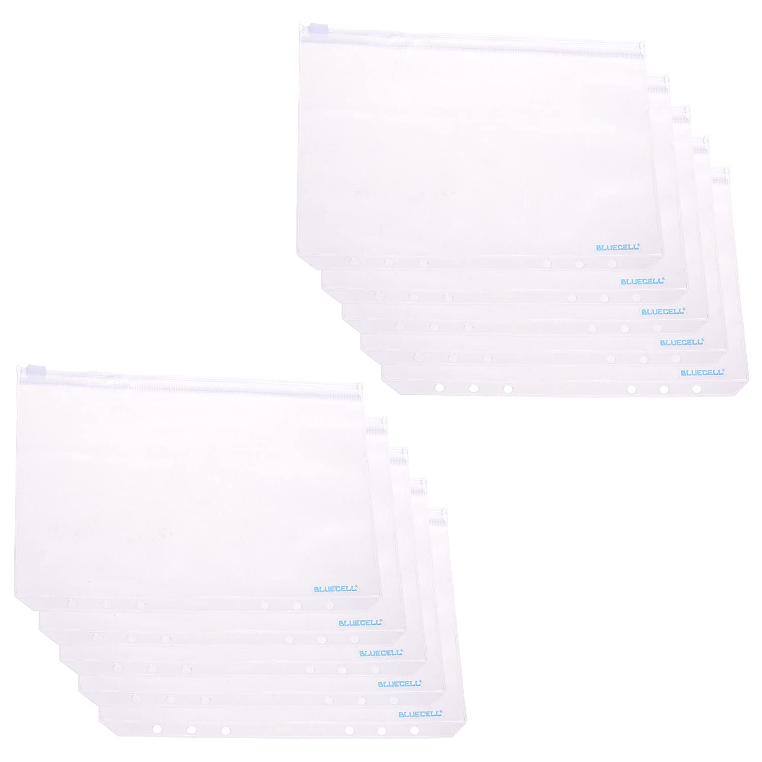 BCP 10pcs PVC Plastic Clear Color Fog A5 Size Zippered Binder Pockets for 6-Ring Notebook Binder 8-1//8 x 5-1//2inches
