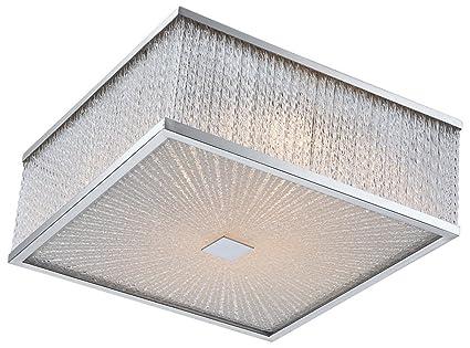 76 Watt LED Deckenleuchte Deckenlampe Chrom Glas Beleuchtung Wohnzimmer Stbe Lampe