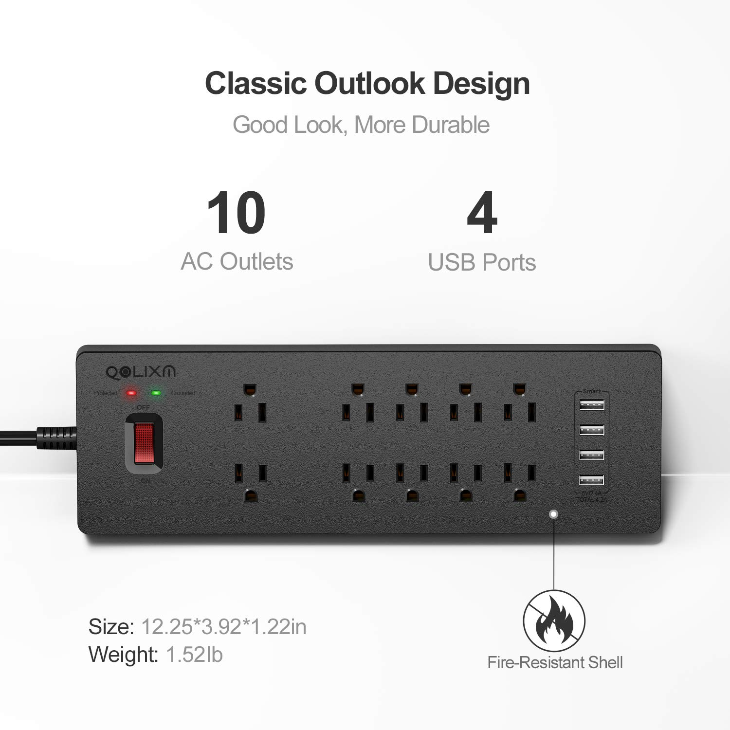 Mountable 10 AC Outlet Plug Strip with Surge Protector 1875W//15A Long Extension Cord USB Charging Station for Multiple Devices QOLIXM Power Strip with USB Ports