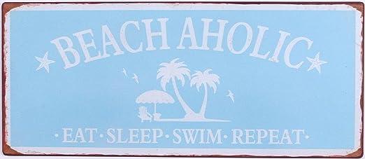 i.stHOME - Cartel de Chapa, diseño Retro con Texto Beach ...