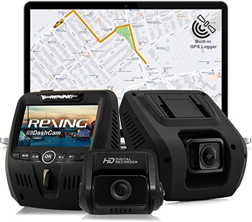 Rexing V1LG Dual Channel Car Dash Cam FHD 1080p 170 Wide Angle Dashboard Camera Recorder with HD Rear Camera, Built-in GPS Logger, G-Sensor, WDR, Loop Recording