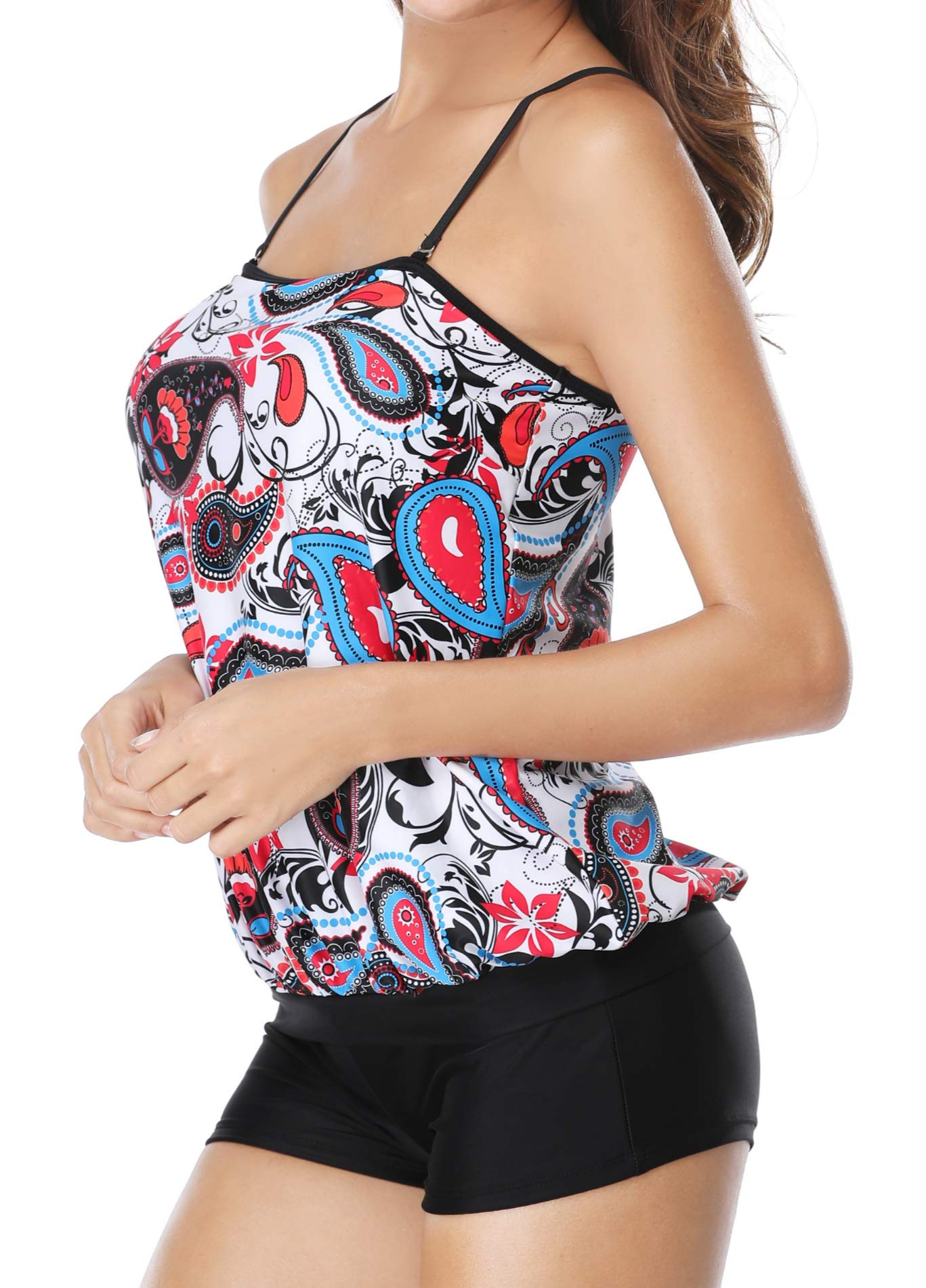 Yonique Blouson Tankini Paisley Tribal Printed Tank Top with Boyshort Two Pieces Swimsuits for Women