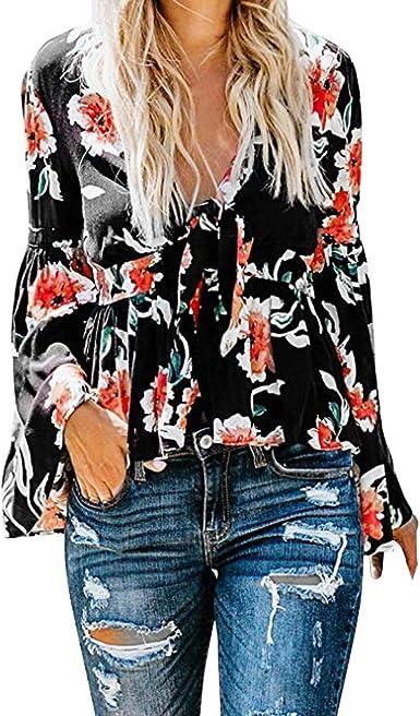 HOUMENGO Mujer Camisas de Manga Larga Cuello en V Estampado Floral Blusas Sueltas Ocasionales Tops Oferta Blusas de Mujer Elegantes de Fiesta: Amazon.es: Ropa y accesorios