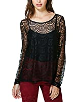 Women Sexy Black Lace long Sleeve See-through Flower Top Blouse Pullover