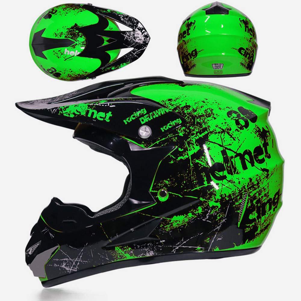 Erwachsene Motorrad Crosshelm mit Helmhaken Brille Maske Handschuhe Geeignet f/ür Mountainbike Motorcycle ATV Cross-Country Sport Schutz PKFG/® Motocross Cross Helm Herren Schwarz Gr/ün Set