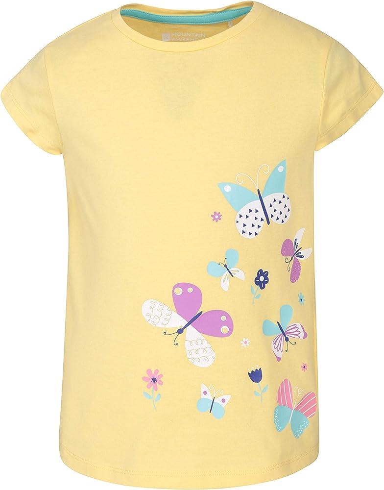 Mountain Warehouse Spring Butterfly t-Shirt Manga Corta Infantil - Camiseta 100% algodón, Parte de Arriba Ligera, Top Transpirable - para Caminar, Vacaciones, Senderismo Amarillo Claro 2-3 Años: Amazon.es: Ropa y accesorios