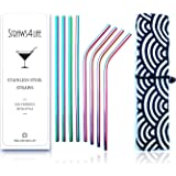 Straws4Life   Eco Friendly Premium Reusable Stainless Steel Drinking Straws   8 Rainbow Colourful Metal Straws   Ideal for Gin, Cocktails and Soft Drinks   Eco Conscious Packaging   Great Gift Idea