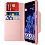 Google Pixel 2 XL Wallet Case, Maxboost [Folio Style] Premium Google Pixel 2 XL Card Cases STAND Feature [Rose Gold] Protective PU Leather Flip Cover with Card Slot + Side Pocket Magnetic