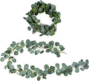 1 Pieces 6.5 Feet Artificial Eucalyptus Garland, Faux Eucalyptus Leaves Vines Handmade Garland Greenery for Wedding Party Table Backdrop Arch Wall Indoor Decor Artficial Hanging Plants
