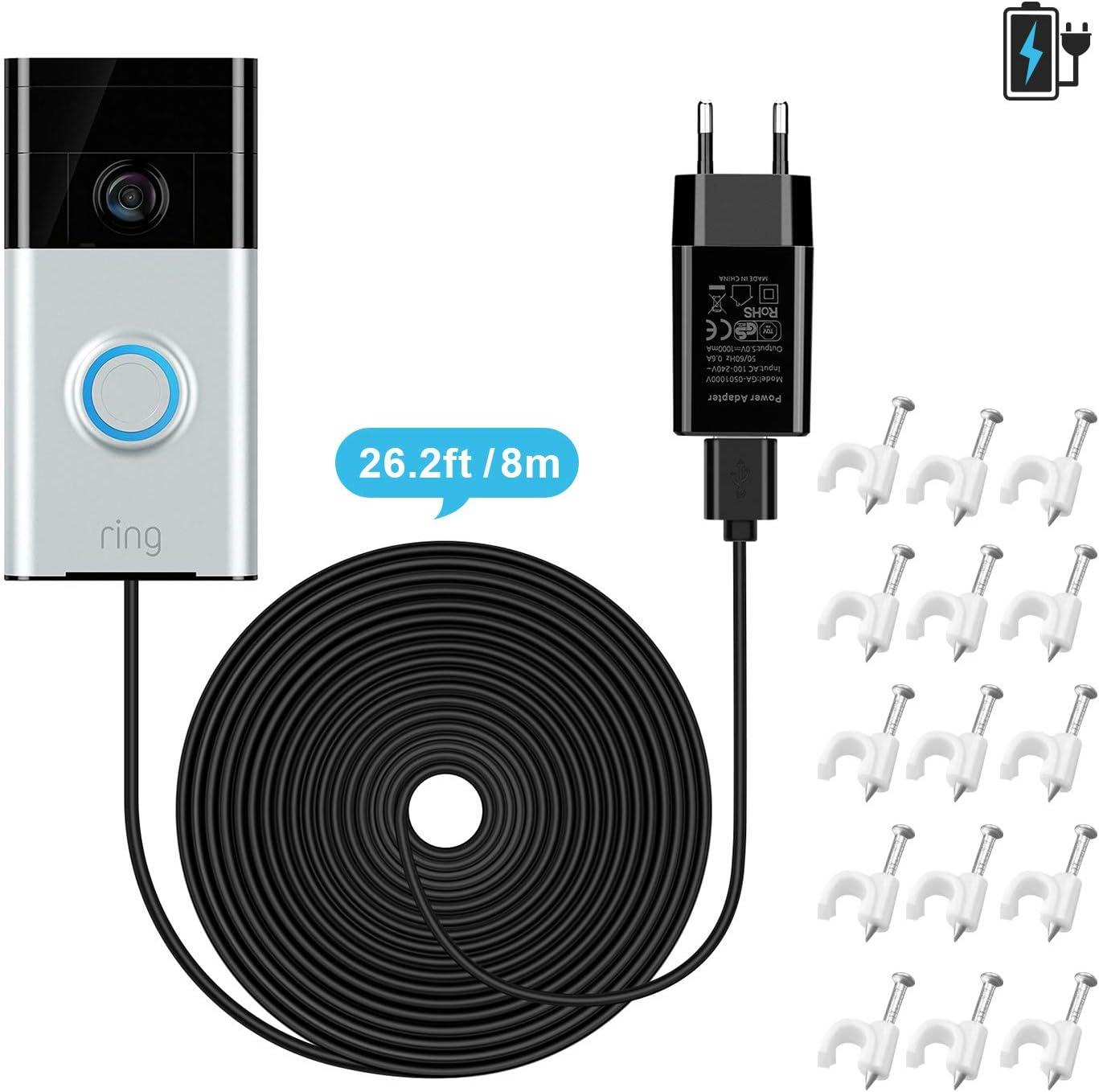 solo para Ring Doorbell 1 cable resistente a la intemperie para cargar continuamente sin necesidad de cambiar las bater/ías Cable de carga OLAIKE de 26 ft // 8 m con adaptador de corriente continua