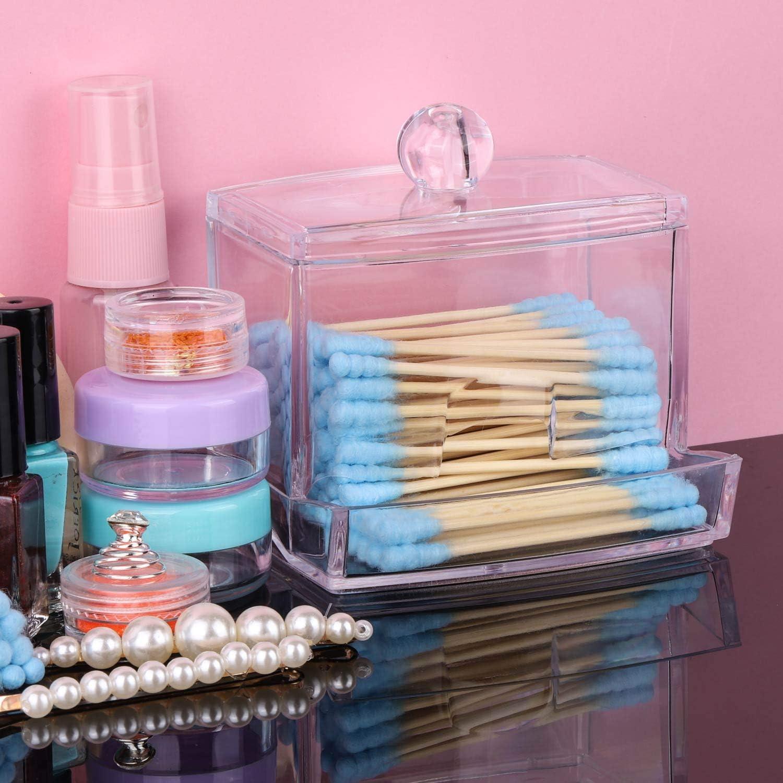 2 Pack Acrylic Bathroom Countertop Storage Organizer LoveBB Cotton Swabs Q Tips Holder Dispenser