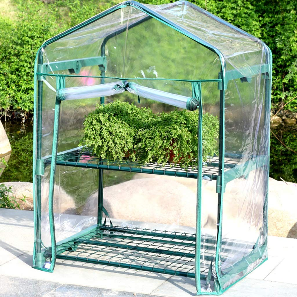 A ZCCWS 2 layers of small plastic greenhouse, succulent green potted potted greenhouse shed greenhouse greenhouse (color   A)