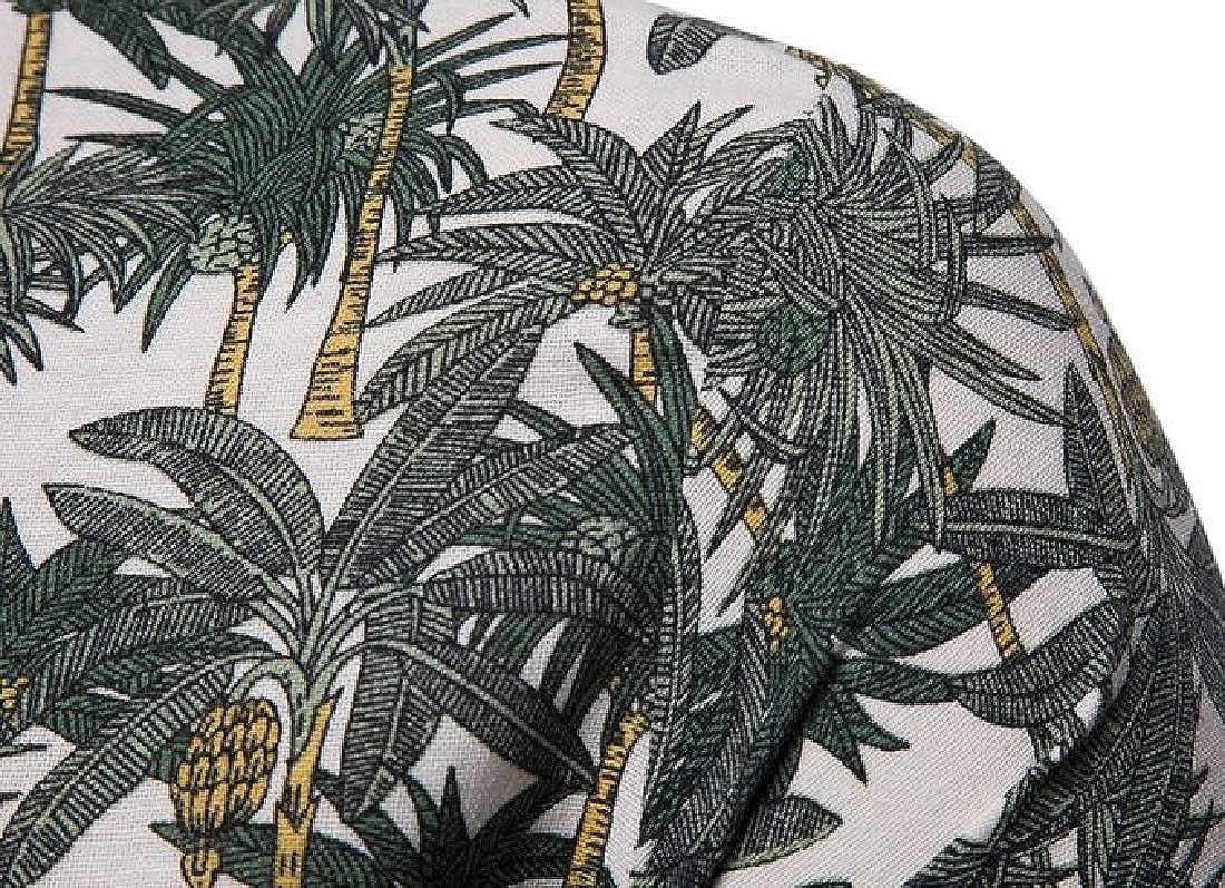 Rrive Mens Print Beach Cotton Linen Casual Short Sleeve Button Down Shirt