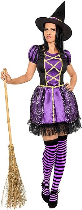 Generique - Disfraz Bruja Negro y Violeta Mujer Halloween M ...