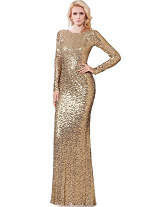 Sparkling Round Neckline Long Sleeves Fitted Allover Sequins Dress (12, Gold)