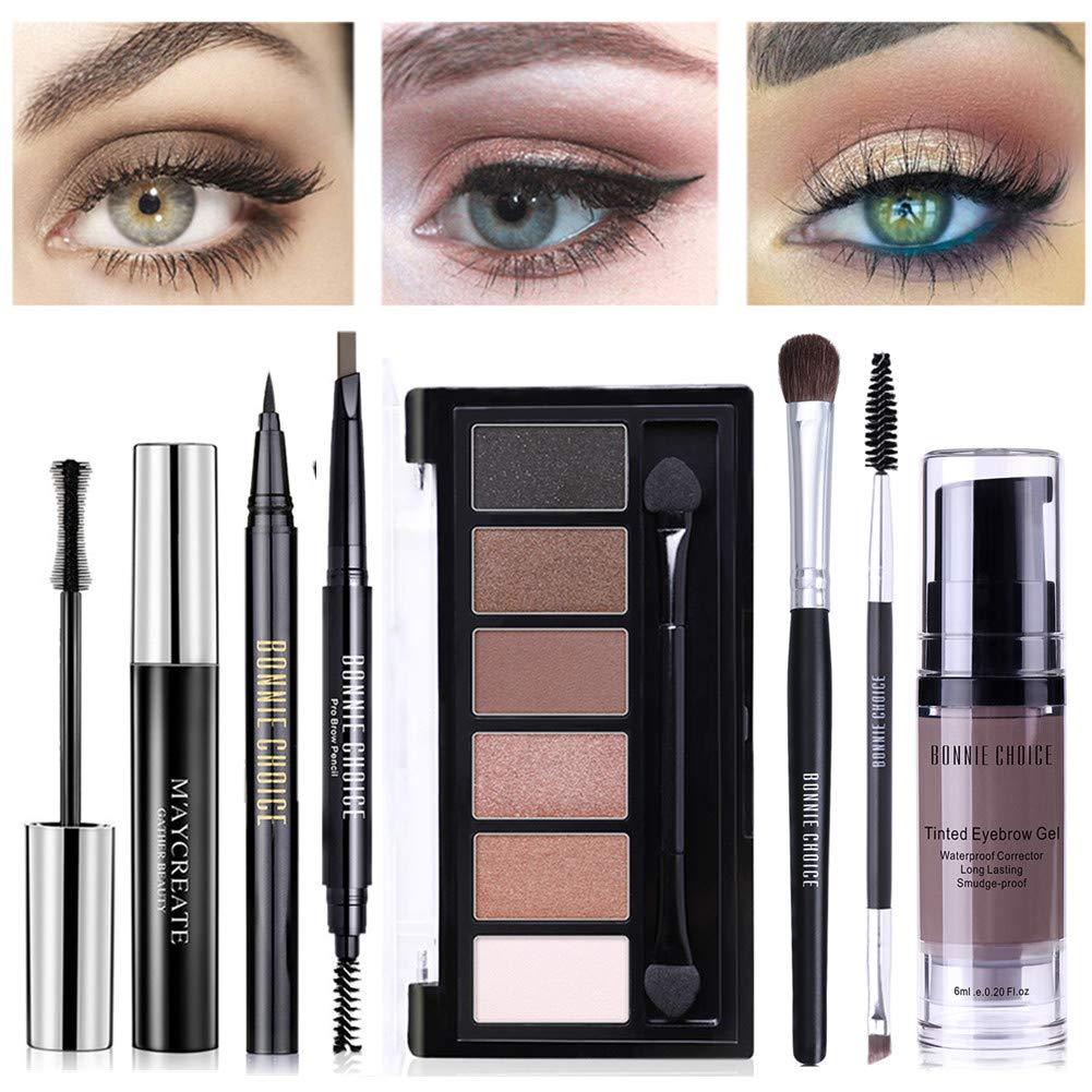 BONNIE CHOICE 7 PCS Eye Makeup Kits for Women, Eye Makeup Set for Beginners, Includes Eyebrow Pencil, Eyeliner Pen, Mascara, Eyeshadow Palette, Eye Makeup Brush, Eyebrow Gel and Eyebrow Brush