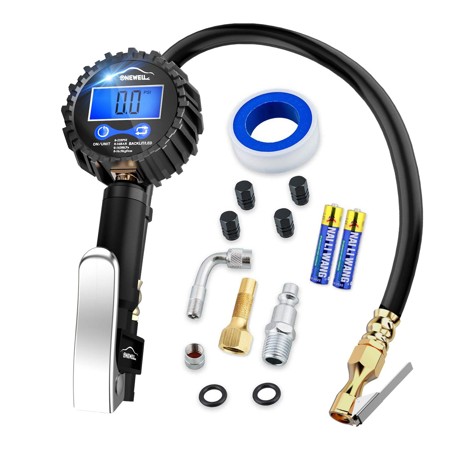 Digital tire inflator with Pressure Gauge,Accurate 0.1 Display Resolution 235Psi Heavy Duty Air Chuck and Compressor Accessories with Rubber Hose and Quick Connect Plug for Truck,Cars and Motorcycle