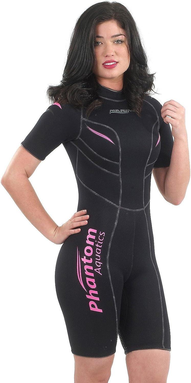 Phantom Aquatics Marine Women's Shorty, Black Pink - 10