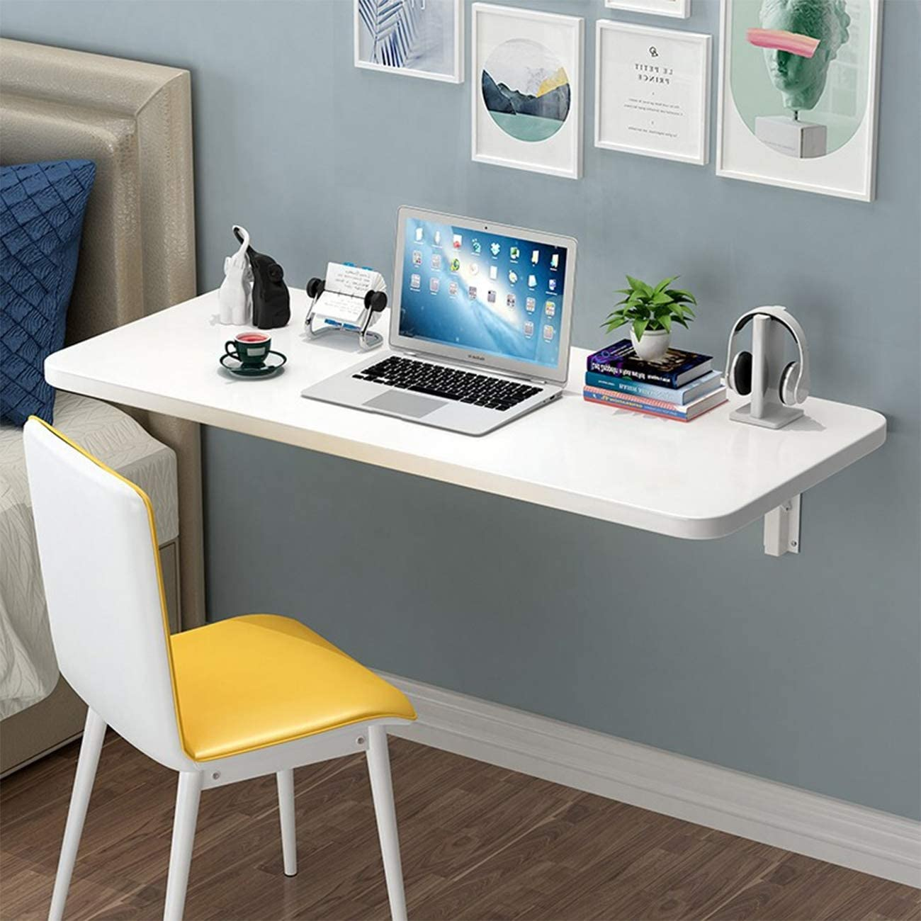 Folding Wall Mounted Desk Small Wall Drop-Leaf Table, White Wood Fold Down Industrial Style Laptop PC Computer Desk Bookshelf Floating Shelves for Home Office, Laundry, Bar, Kitchen, Dining Room